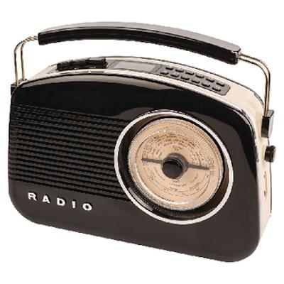 Retro draagbaar FM radio met DAB+ zwart